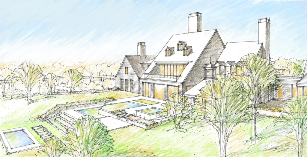 pen sketch of a large white building in a modern farm style with three chimneys, large glass windows and terraced pools off the back of the buildings. The development sits in a large green lawn with large trees and foliage surrounding it.